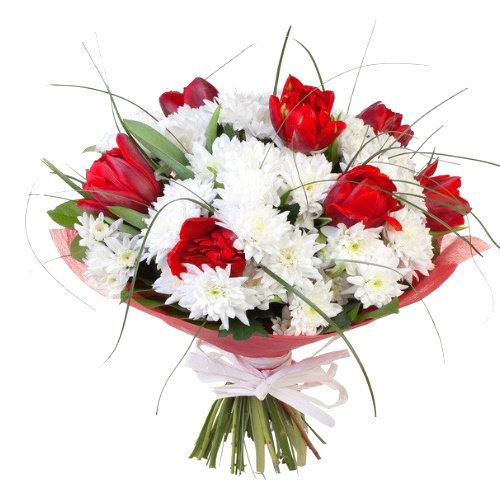 Букет нарциссов, букет из 47 тюльпанов и хризантем